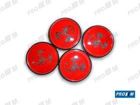 Accesorios TLLAB - Juego de tapacubos Abarth rojo (4 unid.)