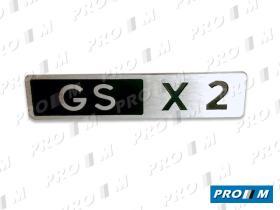 """Citroën ->1995 ANAC13 - Anagrama """"GS PALAS"""" metálico plata adhesivo 138mm"""